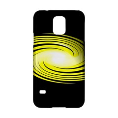 Fractal Swirl Yellow Black Whirl Samsung Galaxy S5 Hardshell Case  by Sapixe