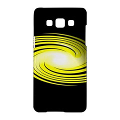 Fractal Swirl Yellow Black Whirl Samsung Galaxy A5 Hardshell Case  by Sapixe