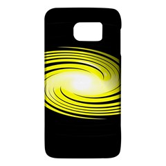 Fractal Swirl Yellow Black Whirl Galaxy S6 by Sapixe