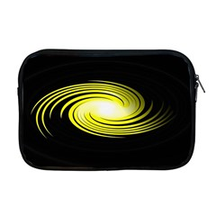 Fractal Swirl Yellow Black Whirl Apple Macbook Pro 17  Zipper Case