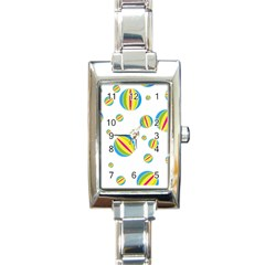 Balloon Ball District Colorful Rectangle Italian Charm Watch by Sapixe