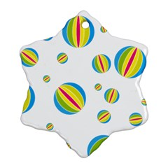 Balloon Ball District Colorful Snowflake Ornament (two Sides) by Sapixe