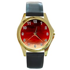 Flaming Skies Ominous Fire Clouds Round Gold Metal Watch