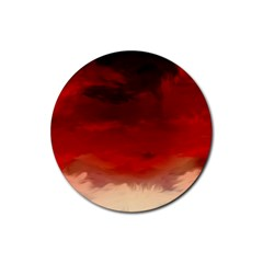 Flaming Skies Ominous Fire Clouds Rubber Round Coaster (4 Pack)