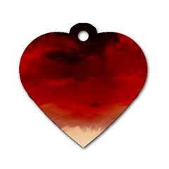 Flaming Skies Ominous Fire Clouds Dog Tag Heart (one Side)