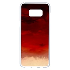 Flaming Skies Ominous Fire Clouds Samsung Galaxy S8 Plus White Seamless Case by Sapixe
