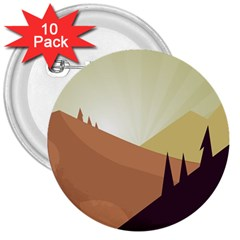 Sky Art Silhouette Panoramic 3  Buttons (10 Pack)  by Sapixe