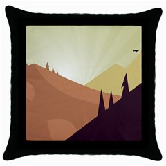 Sky Art Silhouette Panoramic Throw Pillow Case (black) by Sapixe