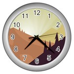 Sky Art Silhouette Panoramic Wall Clocks (Silver)  Front