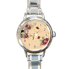 Flower Traditional Chinese Painting Round Italian Charm Watch by Sapixe