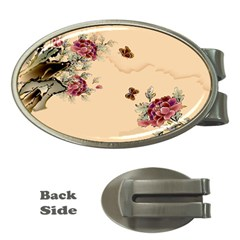 Flower Traditional Chinese Painting Money Clips (oval)