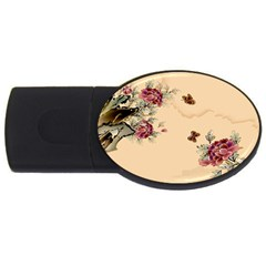 Flower Traditional Chinese Painting Usb Flash Drive Oval (2 Gb)