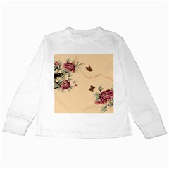 Flower Traditional Chinese Painting Kids Long Sleeve T Shirts by Sapixe