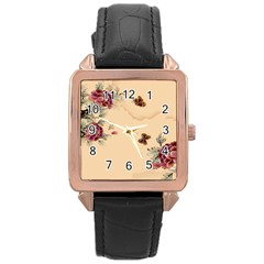 Flower Traditional Chinese Painting Rose Gold Leather Watch