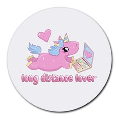 Long Distance Lover   Cute Unicorn Round Mousepads by Valentinaart