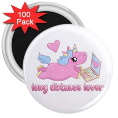 Long Distance Lover   Cute Unicorn 3  Magnets (100 Pack) by Valentinaart