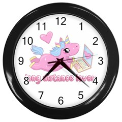 Long Distance Lover   Cute Unicorn Wall Clocks (black) by Valentinaart