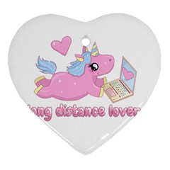Long Distance Lover   Cute Unicorn Heart Ornament (two Sides) by Valentinaart