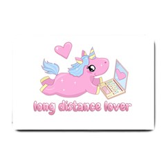 Long Distance Lover   Cute Unicorn Small Doormat  by Valentinaart