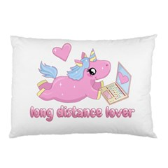 Long Distance Lover   Cute Unicorn Pillow Case by Valentinaart