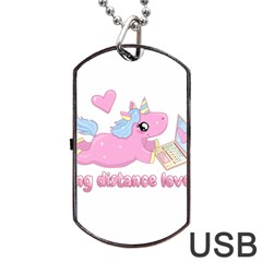 Long Distance Lover   Cute Unicorn Dog Tag Usb Flash (two Sides) by Valentinaart