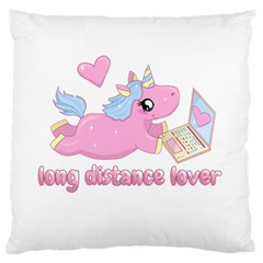 Long Distance Lover   Cute Unicorn Large Cushion Case (one Side) by Valentinaart