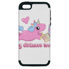 Long Distance Lover   Cute Unicorn Apple Iphone 5 Hardshell Case (pc+silicone) by Valentinaart