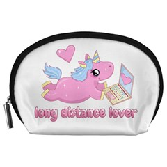 Long Distance Lover   Cute Unicorn Accessory Pouches (large)  by Valentinaart