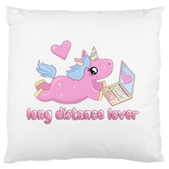 Long Distance Lover   Cute Unicorn Large Flano Cushion Case (one Side) by Valentinaart