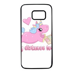 Long Distance Lover   Cute Unicorn Samsung Galaxy S7 Black Seamless Case by Valentinaart