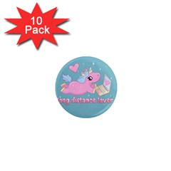 Long Distance Lover   Cute Unicorn 1  Mini Magnet (10 Pack)  by Valentinaart