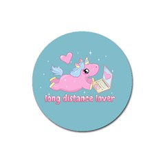 Long Distance Lover   Cute Unicorn Magnet 3  (round) by Valentinaart
