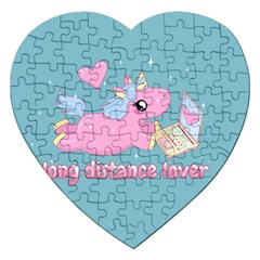 Long Distance Lover   Cute Unicorn Jigsaw Puzzle (heart) by Valentinaart