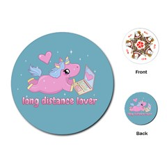 Long Distance Lover   Cute Unicorn Playing Cards (round)  by Valentinaart