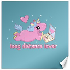 Long Distance Lover   Cute Unicorn Canvas 16  X 16   by Valentinaart