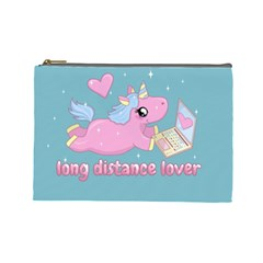 Long Distance Lover   Cute Unicorn Cosmetic Bag (large)  by Valentinaart