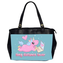 Long Distance Lover   Cute Unicorn Office Handbags (2 Sides)  by Valentinaart