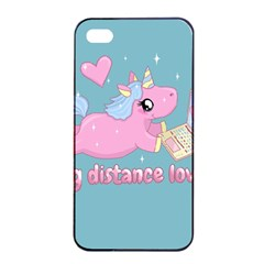 Long Distance Lover   Cute Unicorn Apple Iphone 4/4s Seamless Case (black)