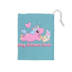 Long Distance Lover   Cute Unicorn Drawstring Pouches (medium)  by Valentinaart