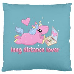Long Distance Lover   Cute Unicorn Large Flano Cushion Case (two Sides) by Valentinaart
