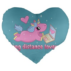 Long Distance Lover   Cute Unicorn Large 19  Premium Flano Heart Shape Cushions by Valentinaart