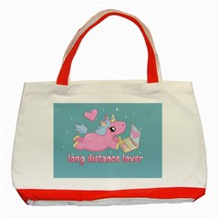 Long Distance Lover   Cute Unicorn Classic Tote Bag (red) by Valentinaart