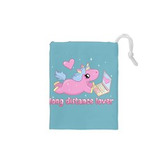 Long Distance Lover   Cute Unicorn Drawstring Pouches (xs)  by Valentinaart