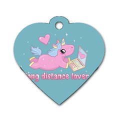 Long Distance Lover   Cute Unicorn Dog Tag Heart (two Sides) by Valentinaart