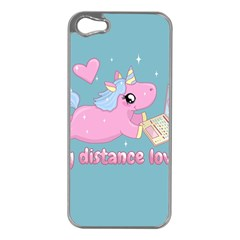 Long Distance Lover   Cute Unicorn Apple Iphone 5 Case (silver) by Valentinaart