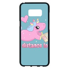 Long Distance Lover   Cute Unicorn Samsung Galaxy S8 Plus Black Seamless Case by Valentinaart