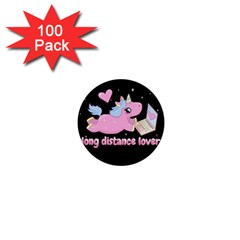 Long Distance Lover   Cute Unicorn 1  Mini Buttons (100 Pack)  by Valentinaart
