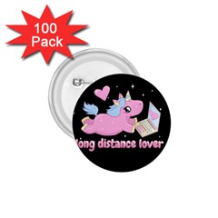 Long Distance Lover   Cute Unicorn 1 75  Buttons (100 Pack)  by Valentinaart