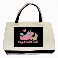 Long Distance Lover   Cute Unicorn Basic Tote Bag by Valentinaart