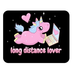 Long Distance Lover   Cute Unicorn Double Sided Flano Blanket (large)